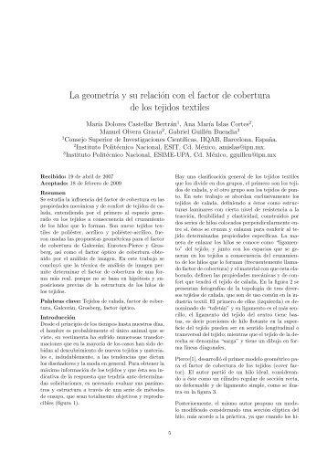 La geometría y su relación con el factor de cobertura de los tejidos ...