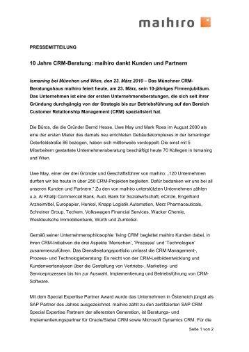 10 Jahre CRM-Beratung: maihiro dankt Kunden und Partnern
