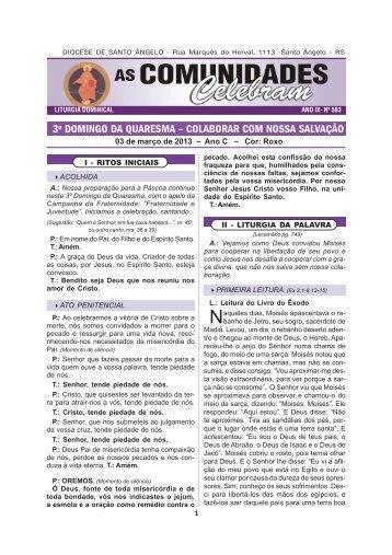 03 de março 2013.PM6 - Diocese de Santo Ângelo