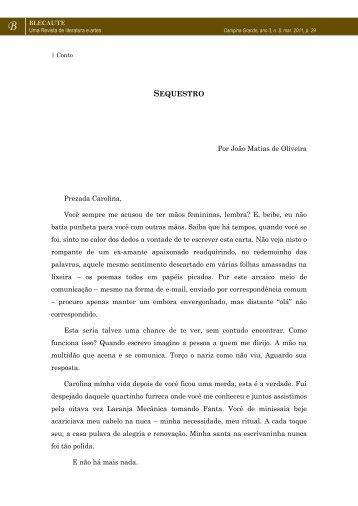 CONTO: Sequestro – João Matias de Oliveira - Revista Blecaute