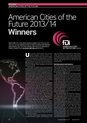 American Cities of the Future 2013/14 Winners