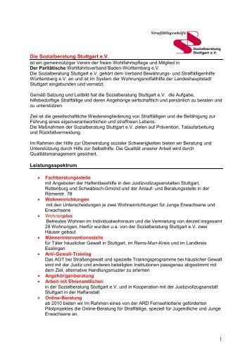 1 Die Sozialberatung Stuttgart e.V. Leistungsspektrum