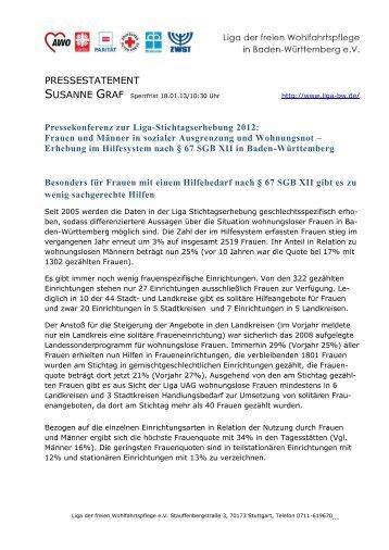 Statement Susanne Graf zur Liga-Stichtagserhebung 2012
