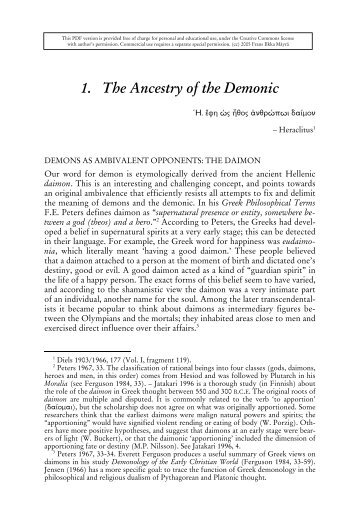 1. The Ancestry of the Demonic