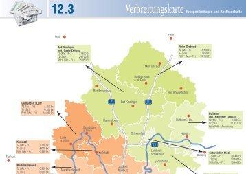 Verbreitungskarte Beilagen überregional 2013 - Main-Post