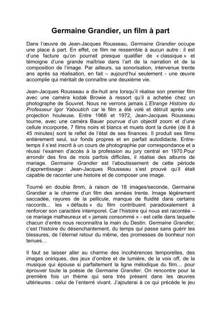Germaine Grandier Jean Jacques Rousseau Le Cinéaste De L