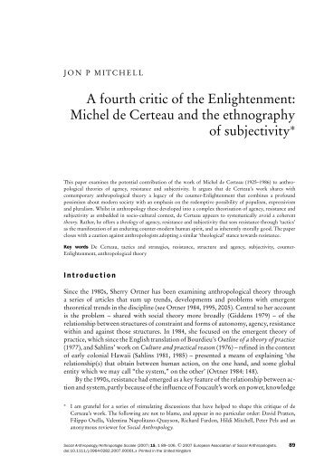 Michel de Certeau and the ethnography of subjectivity - ethnosubject