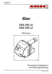Ölbrenner OES 250 Installations und ... - ABIC Brennertechnik GmbH