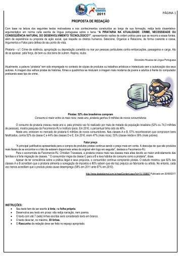 PROPOSTA DE REDAÇÃO - Anglosl.com.br