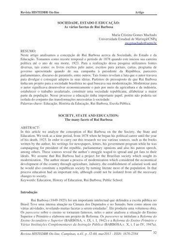 As várias facetas de Rui Barbosa - histedbr - Unicamp
