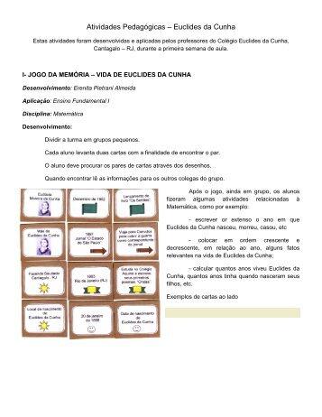 Atividades Pedagógicas – Euclides da Cunha - Projeto 100 anos ...