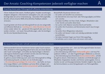 Der Ansatz: Coaching-Kompetenzen jederzeit verfügbar machen
