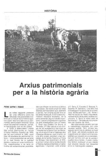Arxius patrimonials per a la historia agraria - Raco