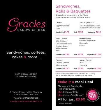 Sandwiches, Rolls & Baguettes - Gracies Sandwich Bar