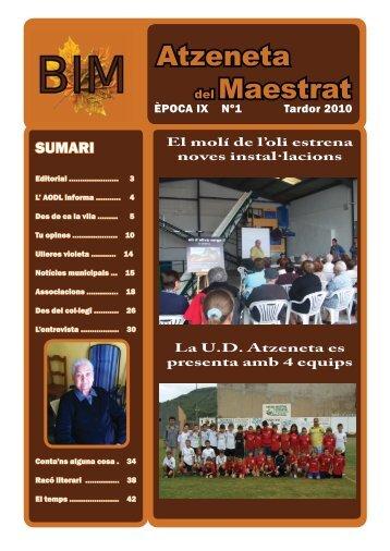 Època IX Nº1 Tardor 2010 - Ajuntament de Atzeneta del Maestrat