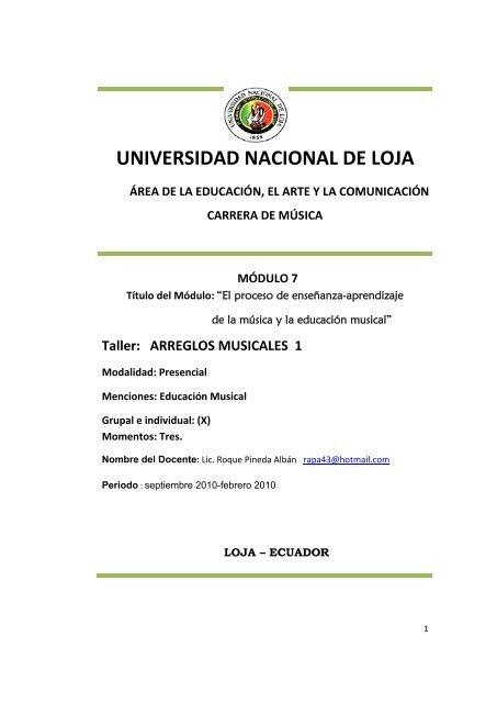 Arreglos Musicales Nivel 1 Universidad Nacional De Loja