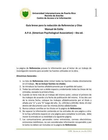 Guía breve para la redacción de referencias - Manual de Estilo A.P.A.