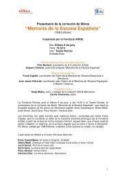 Memoria de la Escena Española - Grup Focus