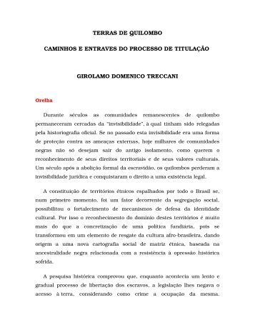 Terras de Quilombo: caminhos e entraves do processo - Centro de ...