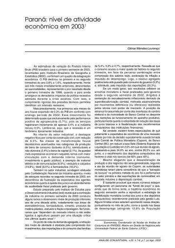 Paraná: nível de atividade econômica em 20031 - Ipardes