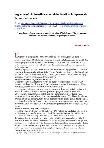 Agropecuária brasileira: modelo de eficácia apesar de ... - CIRCAPE