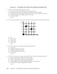 Chapter 9: CENTER OF MASS AND LINEAR MOMENTUM