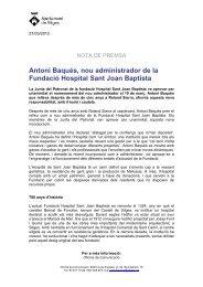Antoni Baqués, nou administrador de la Fundació Hospital Sant ...