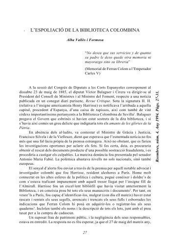 . L'ESPOLIACIÓ DE LA BIBLIOTECA COLOMBINA - Additaments
