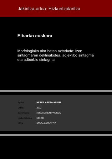 Eibarko euskara. Morfologiako alor baten azterketa - Euskadi.net