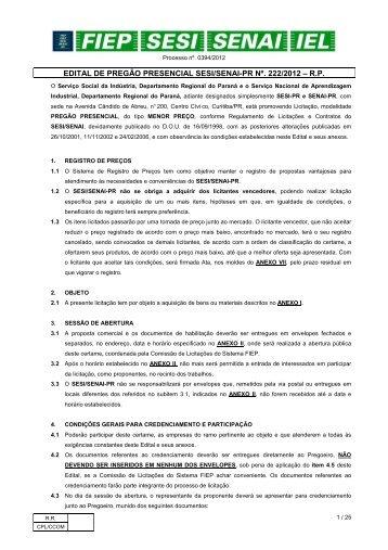 222-12 PP-AQUISIÇÃO DE TROFÉUS E PLACAS DE ... - Fiep