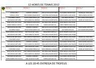 12 HORES DE TENNIS 2012 A LES 20:45 ENTREGA DE TROFEUS
