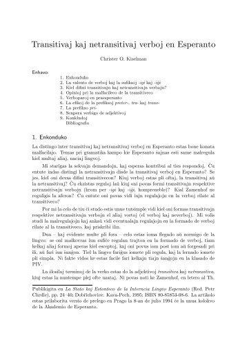 Transitivaj kaj netransitivaj verboj en Esperanto