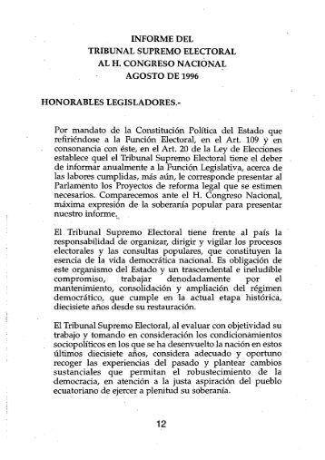 Ecuador, Informe del Tribunal Supremo Electoral al Congreso ...