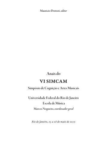 Anais do VI SIMCAM Simpósio de Cognição e Artes ... - anppom