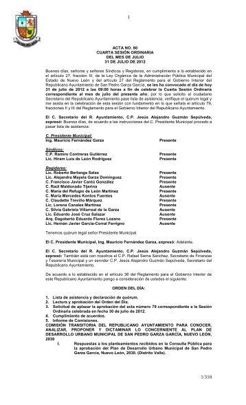 ACTA NO. 80 CUARTA SESIÓN ORDINARIA DEL MES DE JULIO ...