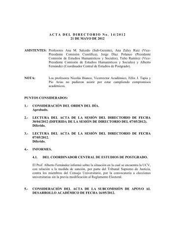 Directorio de fecha 21/05/2012 - CDCH-UCV