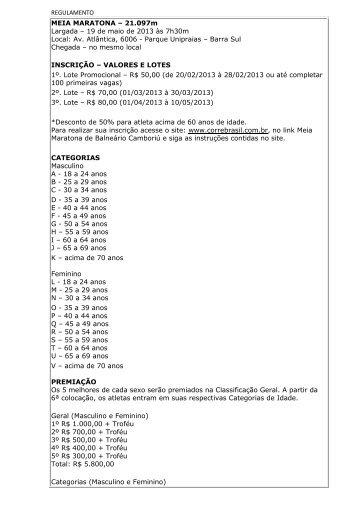 REGULAMENTO MEIA MARATONA – 21.097m Largada ... - Webrun