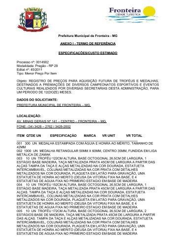 Anexo I - Termo de Referência - Prefeitura Municipal de Fronteira