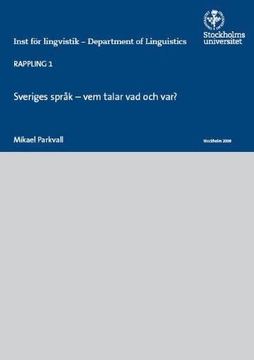 Sveriges språk - vem talar vad och var?
