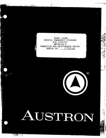 Austron 1250A Crystal Oscillator Manual(1.3MB.pdf - To-Way