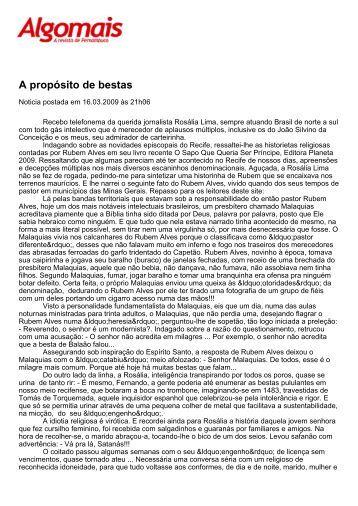 A propósito de bestas - Revista Algomais