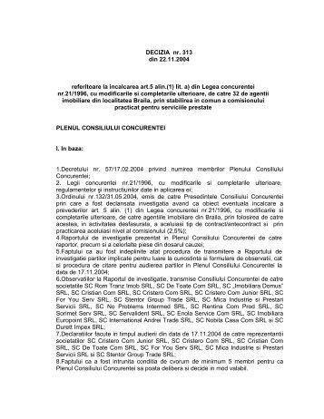 DECIZIA nr. 313 din 22.11.2004 referitoare la incalcarea art.5 alin.(1 ...