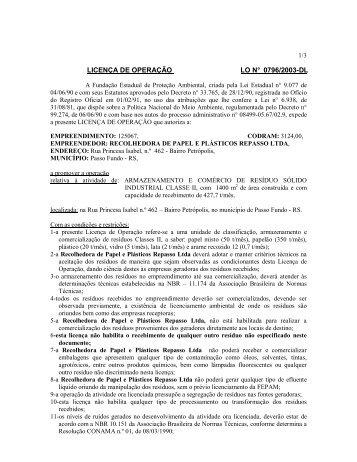 LICENÇA DE OPERAÇÃO LO N° 0796/2003-DL - Fepam