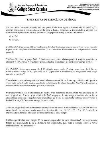 LISTA EXTRA DE EXERCÍCIOS DE FÍSICA