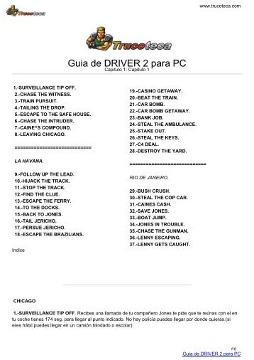Guia de DRIVER 2 para PC - Trucoteca.com