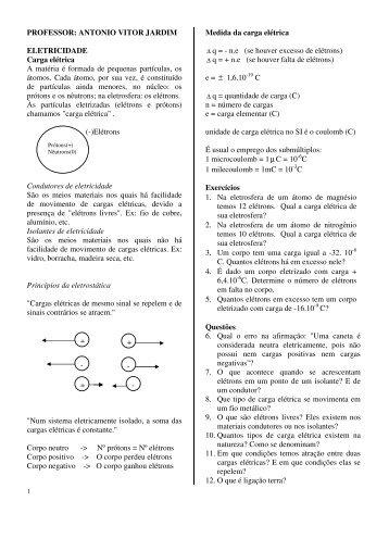 PROFESSOR: ANTONIO VITOR JARDIM ELETRICIDADE Carga ...