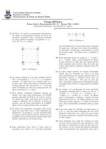 Carga Elétrica - Instituto de Física da UFBA - Universidade Federal ...