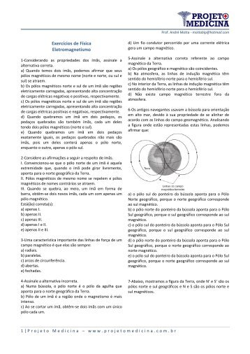 Exercícios de Física Eletromagnetismo - Projeto Medicina