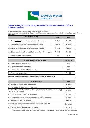 tabela de preços para os serviços oferecidos pela santos brasil ...