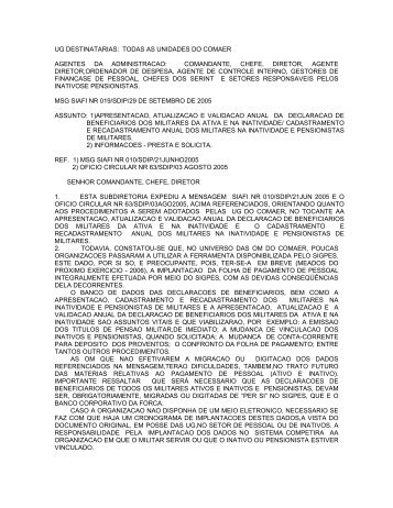 Mensagem SIAFI 019 SDIP - Orientação para a Apresentação e ...